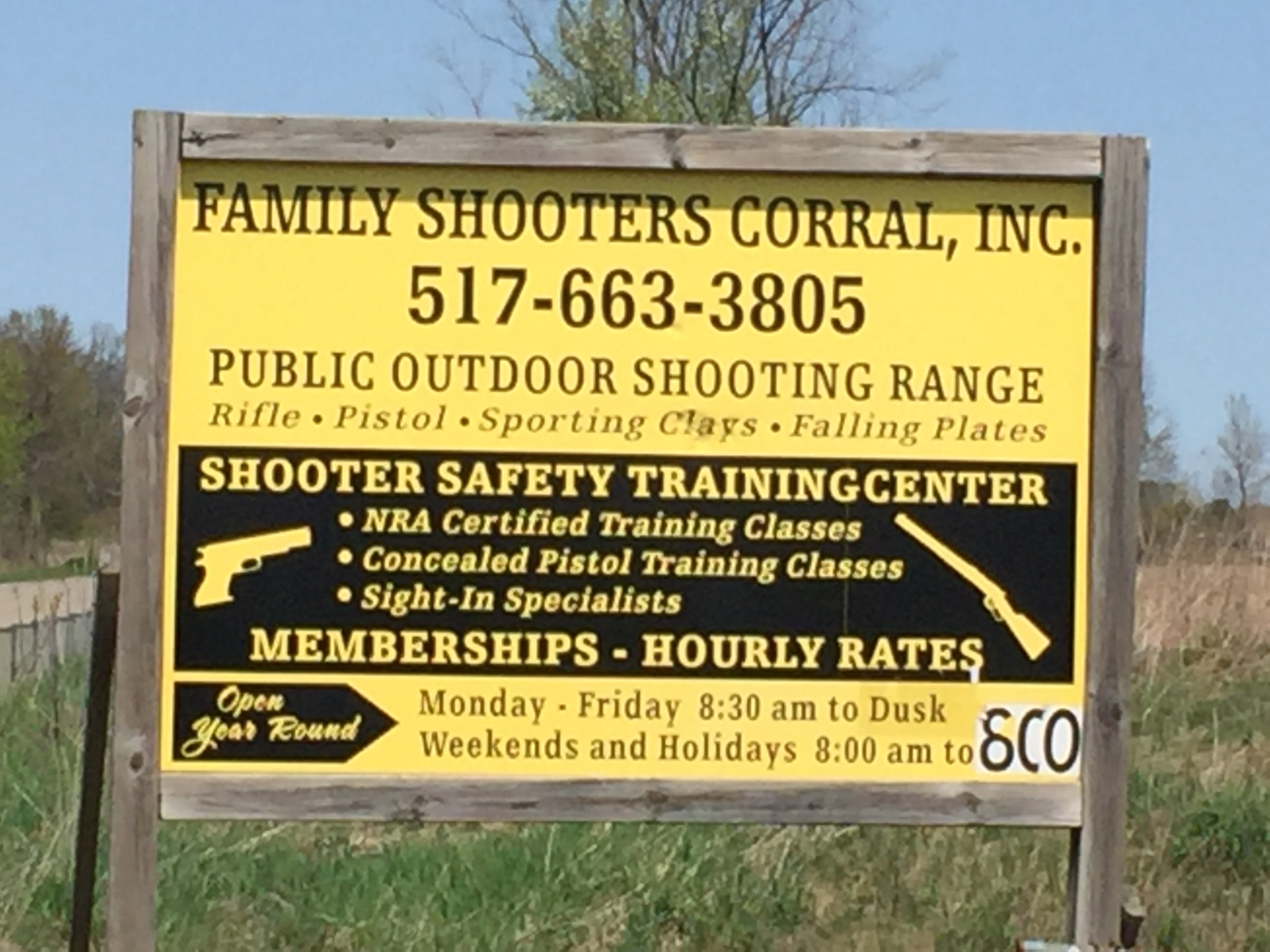 Shooting Range - Eaton Rapids Michigan - Family Shooters Corral Inc
